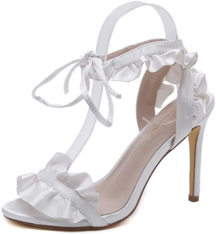 kvinnor High klackar Ruffles Ruffles Ruffles Ankle Strap Lace up Sandals skor Open Toe Stilettos Pumps sommar Thin klackar Party skor  val med lågt pris