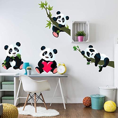 Wall-Art - Wandsticker, Wandtattoo, Aufkleber XXL Panda Bären Set - Bogengröße: 145x41 cm - WA-AL-102