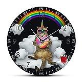 guijinpeng Horloge Murale Drôle Chat Licorne Miaou avec Arc en Ciel Donut HD Horloge Murale imprimée Caticorn Chat Mur Art Fille Chambre Mur Montre Chat Amoureux Cadeau