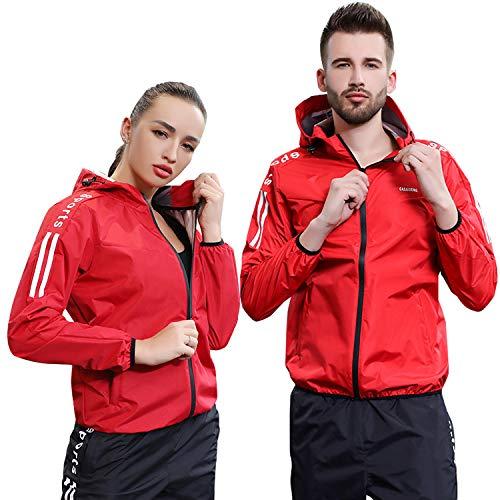 [OneSelf Store] サウナスーツ メンズ レディース 上下セット ダイエット 発汗 トレーニングウェア ダイエットウェア (レッド, L)
