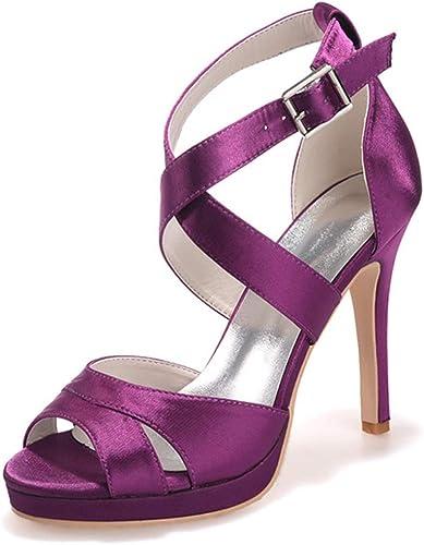 Elobaby Femmes Pour Chaussures De Mariage Satin Mary Jane Pour Talon Bas Mariée Peep Toe Boucle Pompes Slip Talons Hauts   11Cm Talon