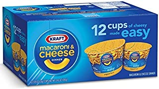 KRAFT Macaroni & Cheese Dinner Cup Easy Mac Original, 58 grams Cups (Pack of 12) by Kraft