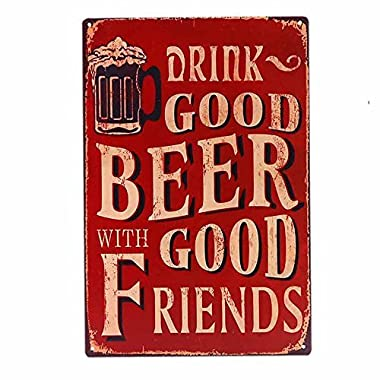 Ochoice Vintage Beer Signs with Drink Good Beer Signs for Bar Decoration 8 x12