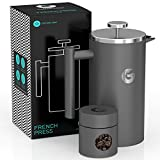 Coffee Gator Cafetiere Coffee Maker - Less Sediment, Hotter-for-Longer, Thermal French Press Brewer - Large Capacity, Double-Wall Insulated Stainless Steel - 1 Litre - Grey