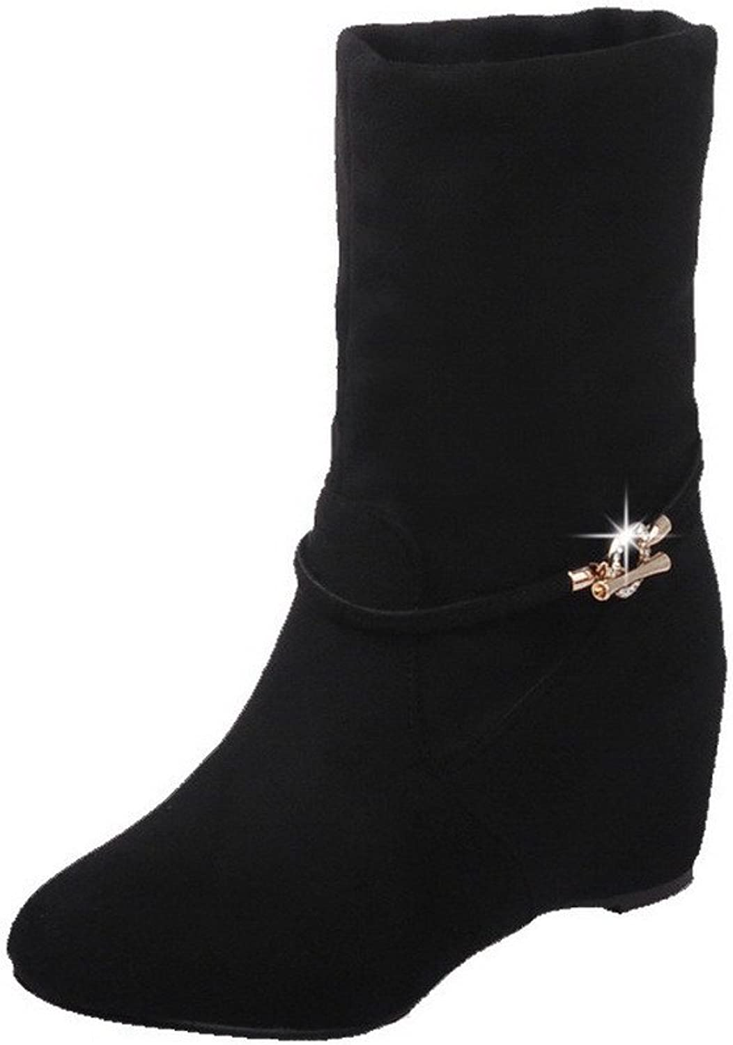 WeiPoot Women's Frosted Closed Round Toe Solid Low-top High-Heels Boots