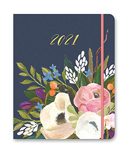 """Hidden Spiral Monthly Agenda 2021 in Bella Flora by Orange Circle Studio - 8"""" x 10"""" 17-Month Hardcover Spiral Planner with Daily & Weekly Views, Tabbed Sections & Storage Pocket"""