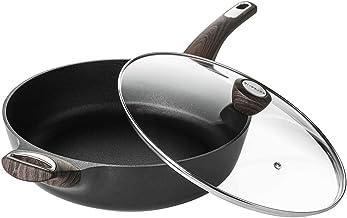 Sensarte Nonstick Skillet,Deep Frying Pan with Glass Lid,Cooking Pan with Soft Bakelite Handle, Saute Pan Chef's pan Omele...