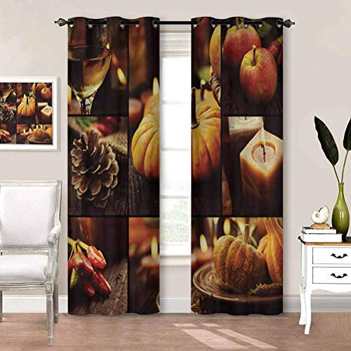 Blackout Window Curtains Thanksgiving, Fruit Plates Candle Home Decor Window Treatments Draperies for Bedroom Girls Room Decor W72 x L84 Inch
