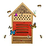 PINVNBY Insect House Natural Wooden Bee Hotel Butterfly Habitat for Gardens Ladybugs(Ladybirds), lacewings, Butterfly, Mason Bees, Solitary, Leaf Cutter & Many Other Beneficial Insects