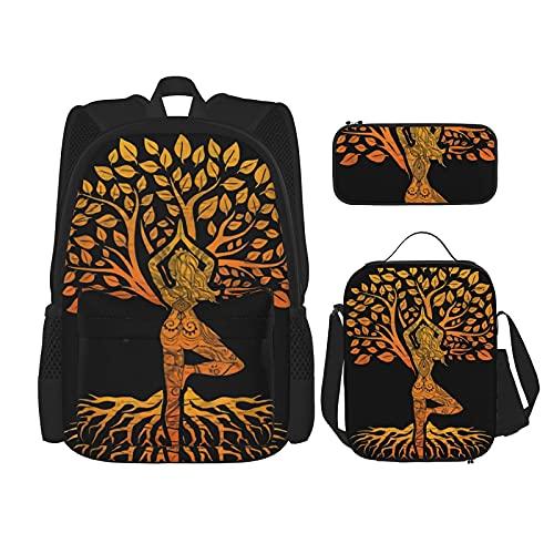 Tree Of Life - Mochila escolar de yoga con mujer, 3 piezas, bolsa escolar + estuche para lápices + bolsa de almuerzo combinada de lona para viajes y acampadas juveniles