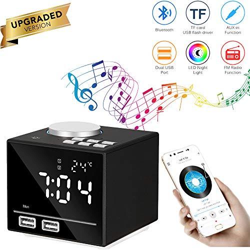 K3 FM Bluetooth luidspreker, multifunctionele smart-wekker, dual USB-poort, oplader, handsfree-functie, ondersteuning USB TF-kaart met led-nachtkastlampje