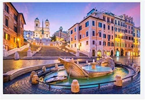 Nonebranded Puzzle Jigsaw para Adultos Adultos Rompecabezas 500 Piezas Plaza De España En La Mañana Roma Italia En El Paisaje Crepuscular Puzzle DIY Art