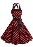 Timormode 10212 Vestido De Vintage Cóctel 50s Elegante Mujer con Cinturón Negro Rojo XS