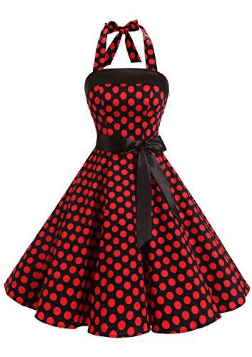 Timormode 10212 Vestido De Vintage Cóctel 50s Elegante Mujer con Cinturón Negro Rojo M