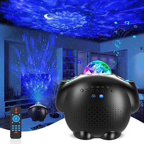 Sternenhimmel Projektor, LED Sternenlicht Projektor 4 in 1 Ozeanwellen Projektor mit Fernbedienung/Bluetooth Musik Lautsprecher/Timer Galaxy Light Perfekt für Party Weihnachten Kinder Erwachsene