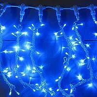 LEDつららカーテンストリングライト結婚披露宴のための8つのモードクリスマスベッドルーム屋外屋内壁装飾、青
