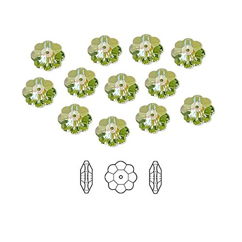 Swarovski Crystal Beads Faceted Marguerite Flower 3700 Peridot Glacier Blue 6x2mm Package of 12