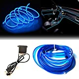 USB El Wire Blue, 3M Neon Lights 5V with Fuse Protection for Automotive Car Interior Decoration with 6mm Sewing Edge.
