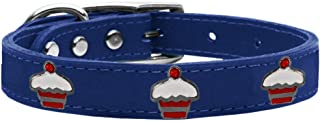 Mirage Pet Products 83-119 BL12 Red Cupcake Widget Genuine Leather Dog Collar, Size 12, Blue