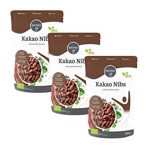 3 x borchers Bio Kakaonibs . Bio-Qualität . Roh . Von Natur aus Vegan . Schonend fermentiert . 200 g