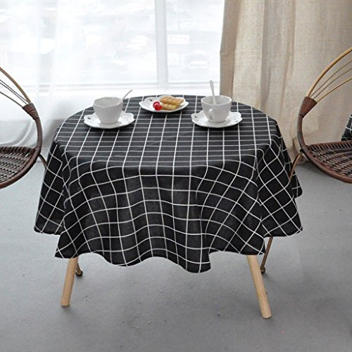 Nappes Table ronde en coton - (grande nappe ronde en treillis) Cuisine Salon Table basse Nappe ronde nappe (Couleur : A, taille : Round -130cm)