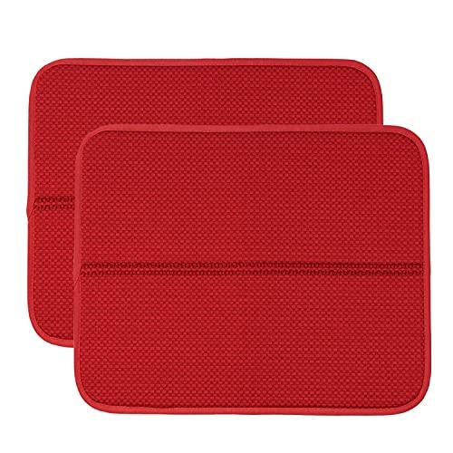 RECYCO Tappetino per scolapiatti in microfibra per cucina, 44 x 36 cm, 2 pezzi, per lavello e stoviglie, colore rosso