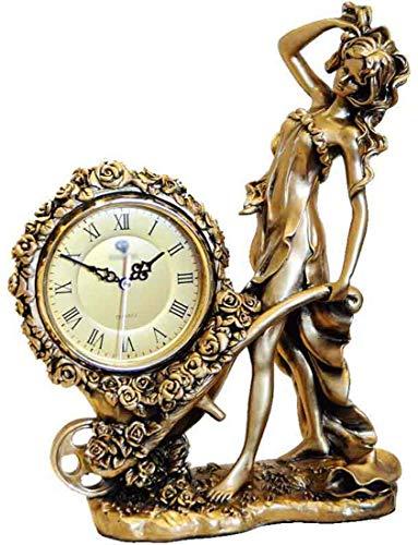 Knoijijuo Señora Justicia, Decorativo Diosa Griega Señora De La Justicia Escultural Reloj De La Chimenea Antigua Mitología Figura Acabado Bronce