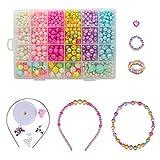 QH-Shop Cuentas Abalorios,DIY Beads 24 Clases Perlas el Plastico en Caja de PVC como Regalo para Niños Niñas Pulsera DIY Maciendo Kit 800 Piezas