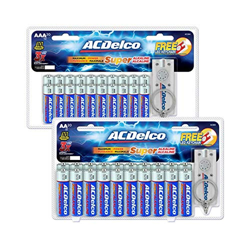 ACDelco AA and AAA Batteries, Alkaline Battery, 20 Count Each Pack