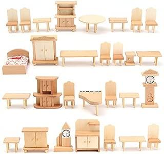 BangBang New 29 Pcs 1:24 Scale Dollhouse Miniature Unpainted Wooden Furniture Model Suite