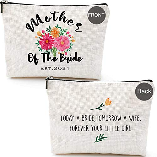 Mother of Bride Bag EST.2021, 2 Pieces,Umother of bride gift bag for wedding,Mother of Bride and Groom Gifts-EST.2021, 2 Pieces,Unique Wedding Favor Gifts For Parents - Engagement Gifts For Mother In Law and Brides Mom-Makeup Bag