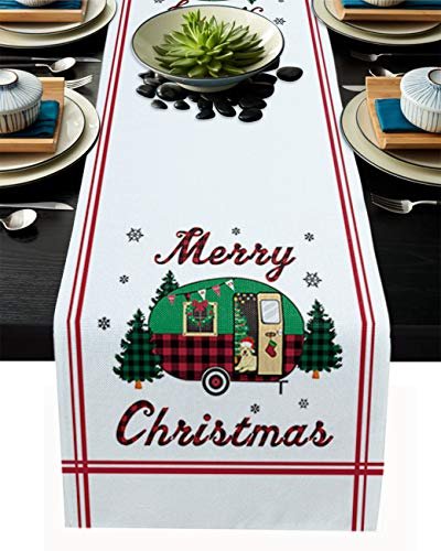 PIEPLE Christmas Camper with Tree Snowman Cotton Linen Table Runner Baby-Shower, White Rectangle Tabletop and Dresser Scarves for Wedding/Picnic/Banquet 18' x 72'