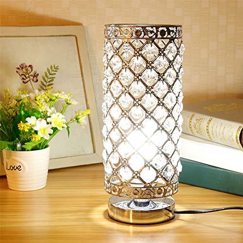 Kristall Tischlampe, Dekorative Nachttischlampe mit silbernem Lampenschirm für Wohnzimmer, Schlafzimmer, Esszimmer (Ohne Birne)