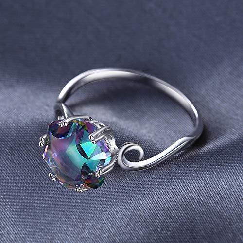 YAHLSEN Coloreada Siete Piedras Preciosas Anillo de circón sólido 925 joyería de Plata esterlina Anillo 7 Q