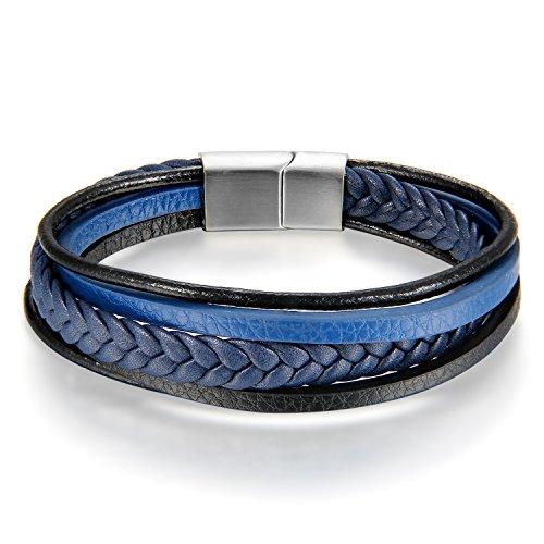 JewelryWe Schmuck Herren Damen Armband, Geflochten Armreif, Magnet Verschluss, Leder Echtleder Edelstahl, Blau Schwarz Silber