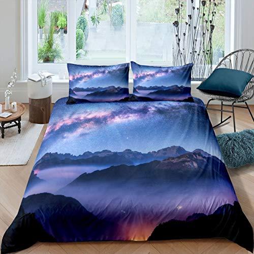 Galaxy Comforter Set di biancheria da letto per bambini ragazzi ragazze glitter spazio esterno copripiumino scintillante blu nebulosa Decor 2 pezzi singolo