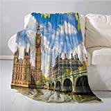 Homrkey London Decor Collection Beach Blanket Historical Architecture Big Ben and Westminster Bridge Seen Behind Fresh Spring Leaves Picture Super Soft and Warm, Durabl 60 x 50 Inch Blue Green Ivory