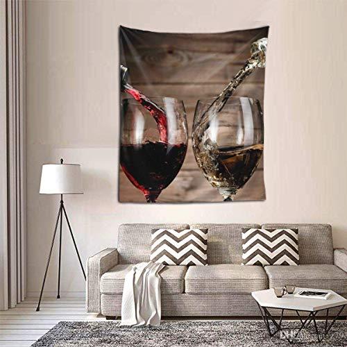 Hdadwy Bebidas de Vino con Botellas de Vidrio Tapiz de patrón Tapiz de Bosque Tapiz de Paisaje Natural Tapiz para Colgar en la Pared para habitación (60 x 50 Pulgadas)