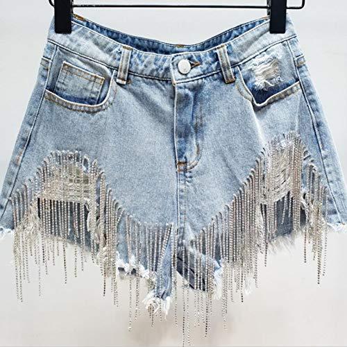 DAIDAICDK Hohe Taille Frauen Mode Lose Damen Kurzen Sommer Lose Denim Shorts Bohrer Quaste Loch Kurze Jeans