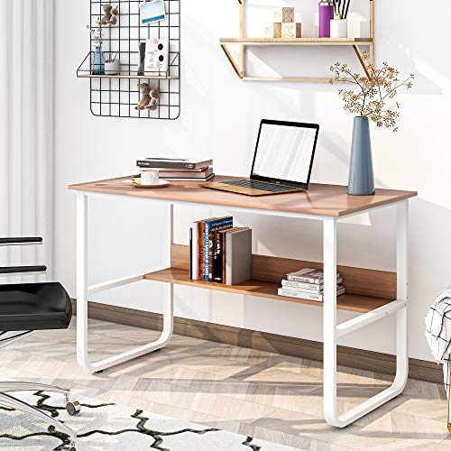 Escritorio con estante, mesa de oficina, mesa de ordenador, mesa de trabajo, mesa para oficina, diseño industrial, 120 x 60 x 73 cm