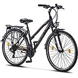 Licorne Bike Premium Trekking Bike da 28 pollici – Bicicletta per uomo, ragazzo, ragazza e donna – cambio Shimano 21 marce – City Bike – Bicicletta da uomo – L-V-ATB – Nero/Rosa
