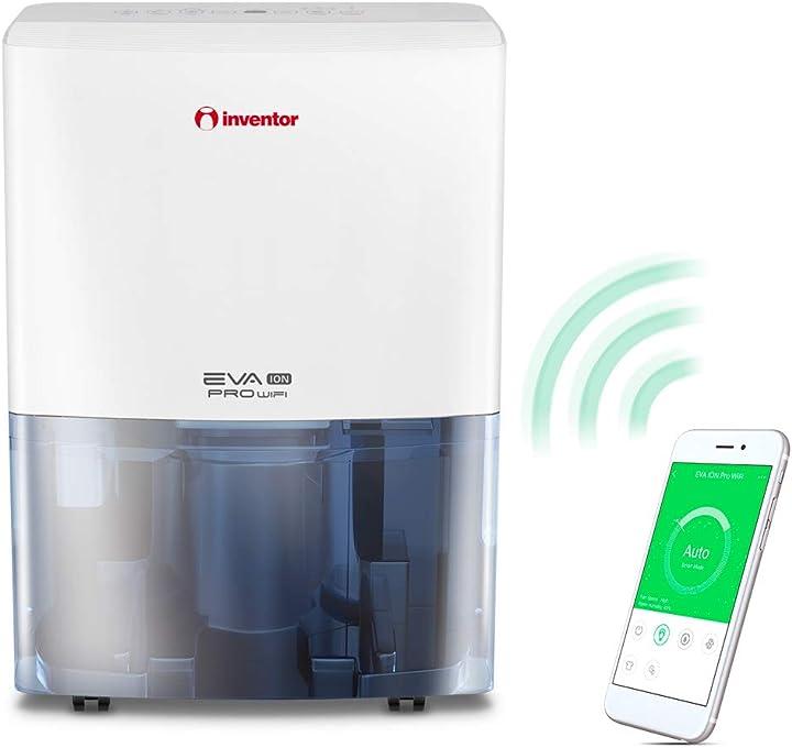 Deumidificatore 20l/24h (adatto fino a 70m2), wifi, ionizzatore inventor eva ion pro wifi EP3-WiFi20L