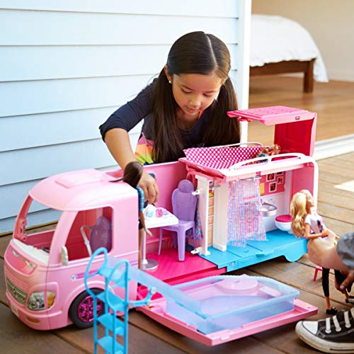 The Barbie DreamCamper is a fun outdoor toy for kids to pretend Barbies are camping