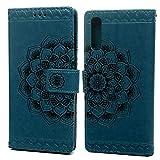 Funda para Samsung Galaxy A70 con diseño de media flor de piel sintética, con cierre magnético, función atril, ranuras para tarjetas, color rojo, azul