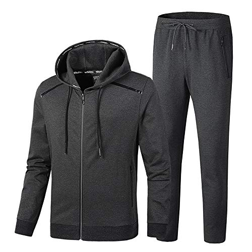 INVACHI Men's Casual 2 Pieces Solid Full Zip Hooded Sports Sets Jacket & Pants Active Gym Fitness Tracksuit Set