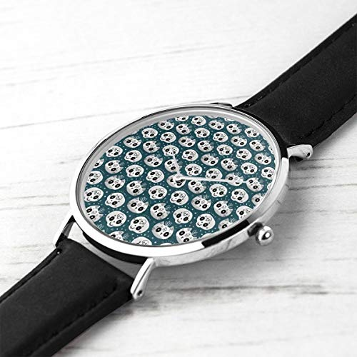 Unisex Ultra Thin Fashion Minimalist Relojes de Pulsera Cat and Skull Waterproof Quartz Casual Watch Mens Womens