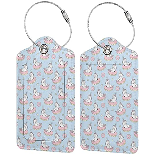PATINISA Luggage Tag with Privacy Cover,Cartoon Mythical Animals Sleeping On Doughnuts with Stars,Baggage Labels, Suitcase ID Tags for Travel Suitcases Handbags,(4 pcs)