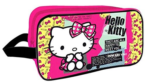 Hello kitty Trousse de toilette rectangulaire enfant fille Rose foncé/noir 28x18cm