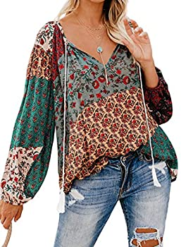 FARYSAYS Women s Fashion 2019 V Neck Long Sleeve Boho Floral Tee Shirts Casual Loose Blouse Tops Multicolored X-Large