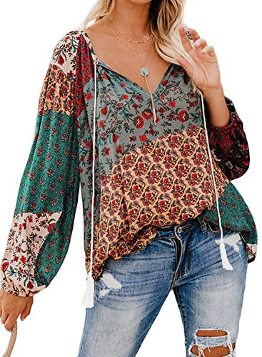 FARYSAYS Women's Fashion 2019 V Neck Long Sleeve Boho Floral Tee Shirts Casual Loose Blouse Tops Multicolored Small